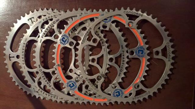 vintage steel race bike Pantographed chainrings